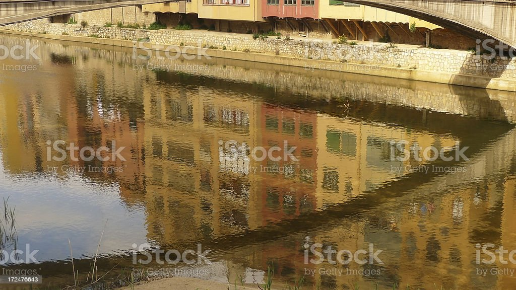 Reflections in the River Onyar Girona stock photo