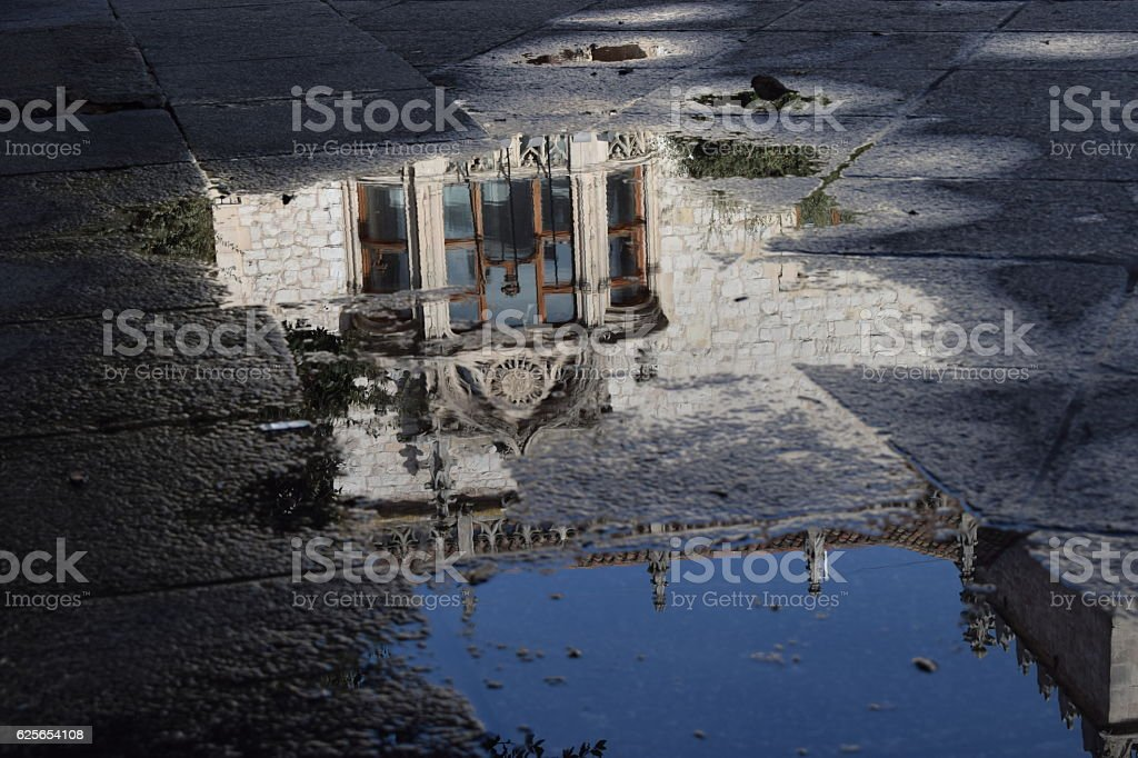 Reflections in the water of monuments. stock photo