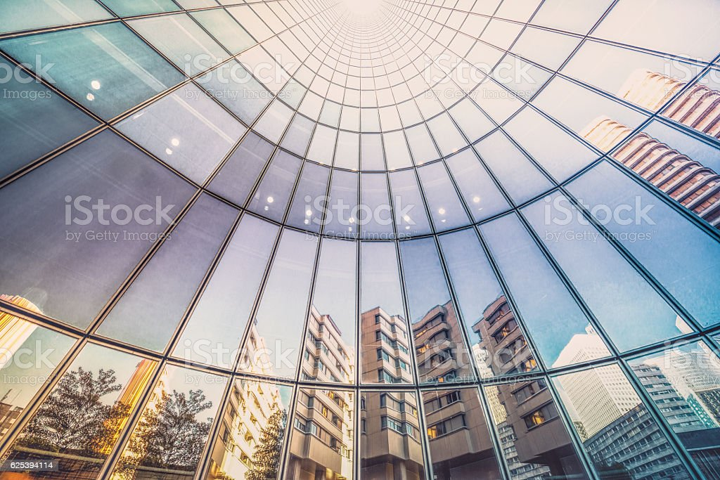 Reflections in tower facade stock photo