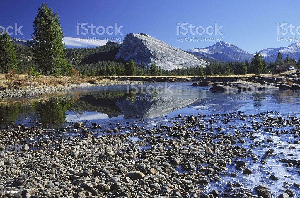 Reflections in Tuolumne River, Yosemite National Park stock photo