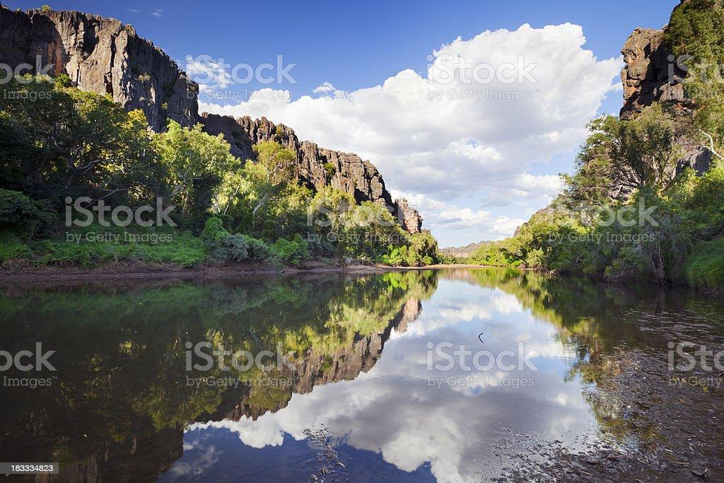 Reflections in Windjana Gorge, Western Australia on a sunny day stock photo