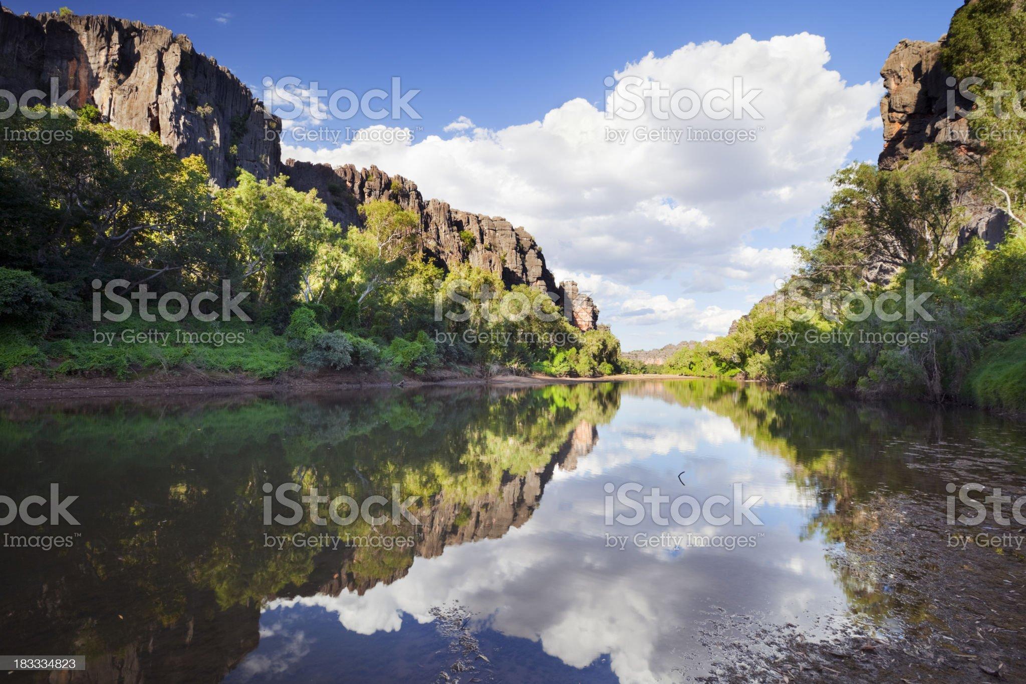 Reflections in Windjana Gorge, Western Australia on a sunny day royalty-free stock photo