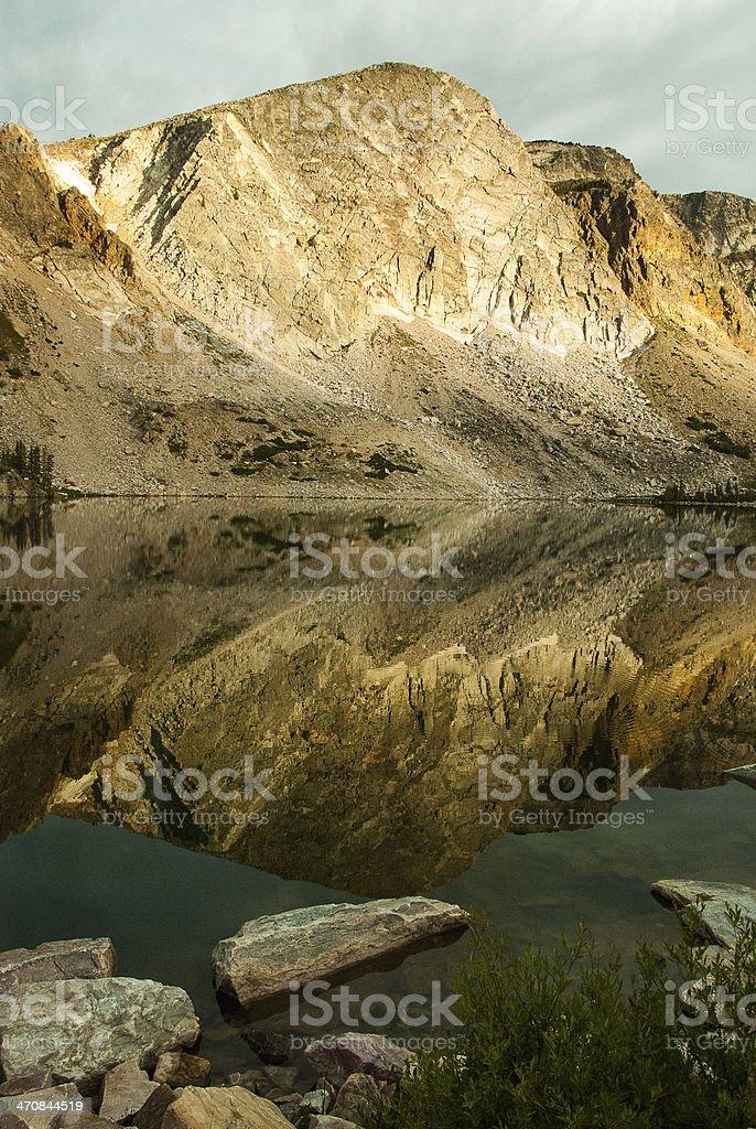 Reflections Mirror Lake Snowy Range Wyoming stock photo