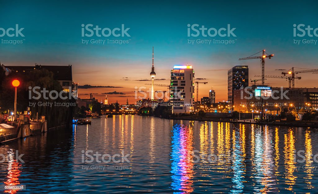 reflections of berlin city in river with view on tv-tower stock photo