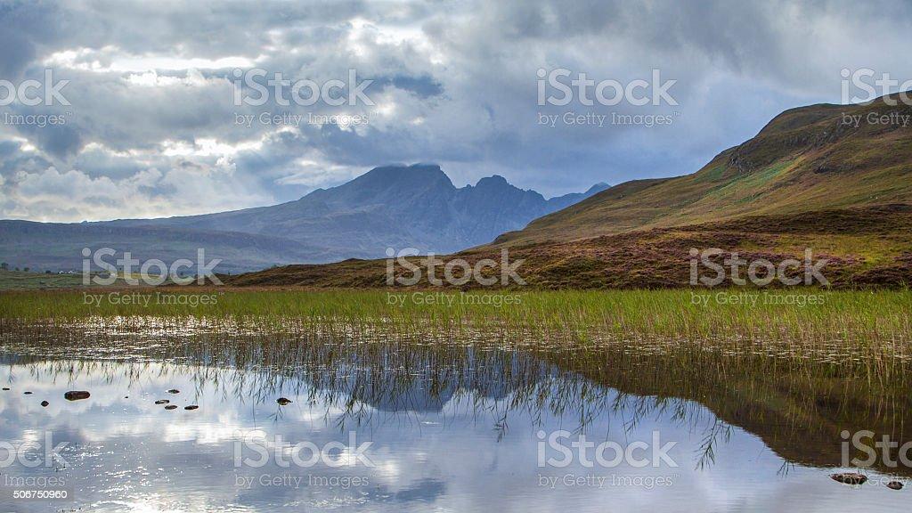 Reflections of Bla Bheinn, Isle of Skye stock photo