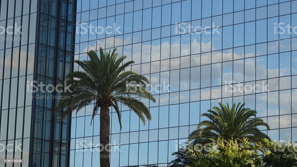 Reflections of clouds stock photo