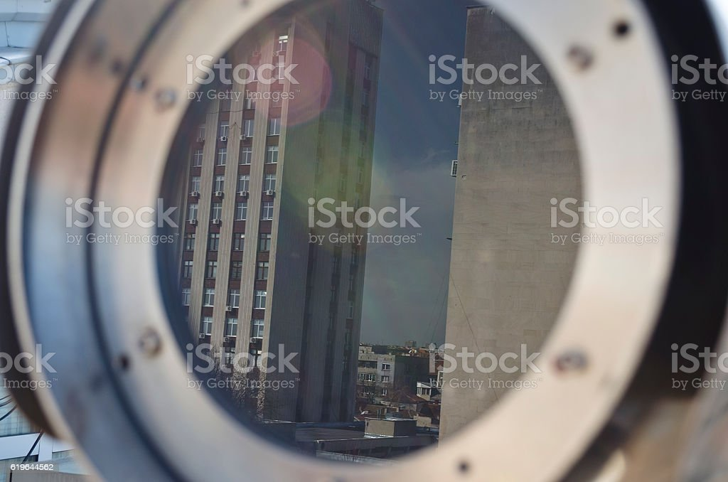 Reflections of Glass in Glass building stock photo