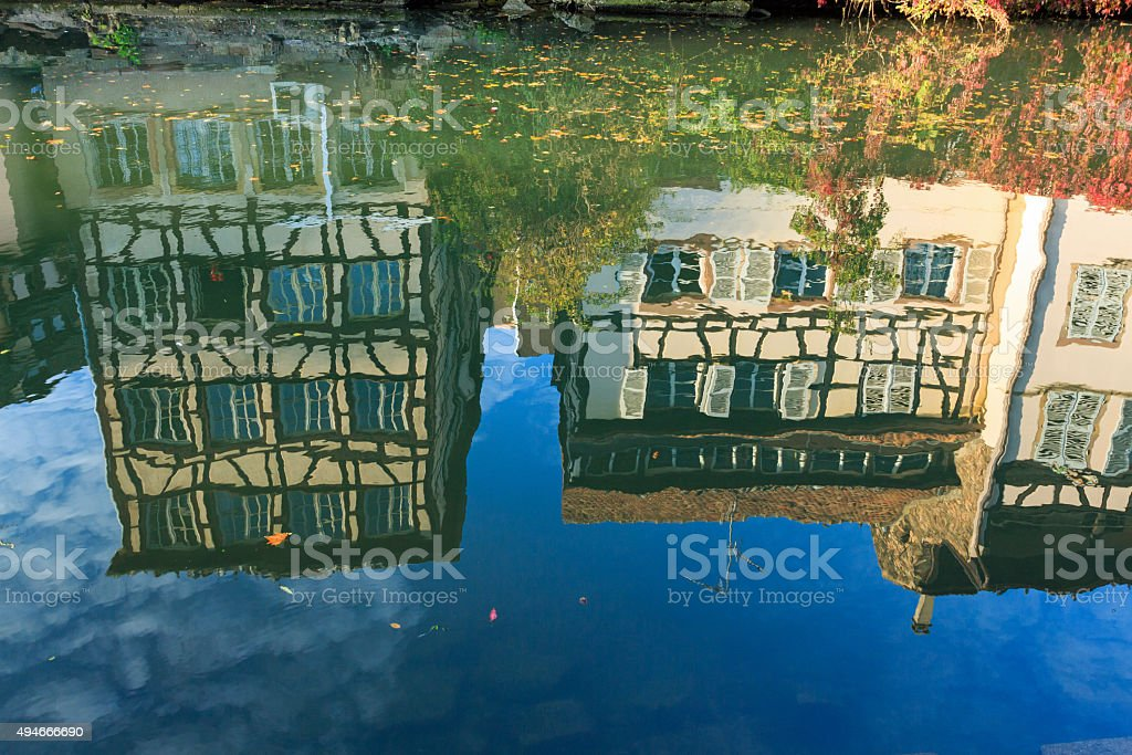 Reflections of half-timbered houses in the river Ill: La-Petite-France, Strasbourg stock photo