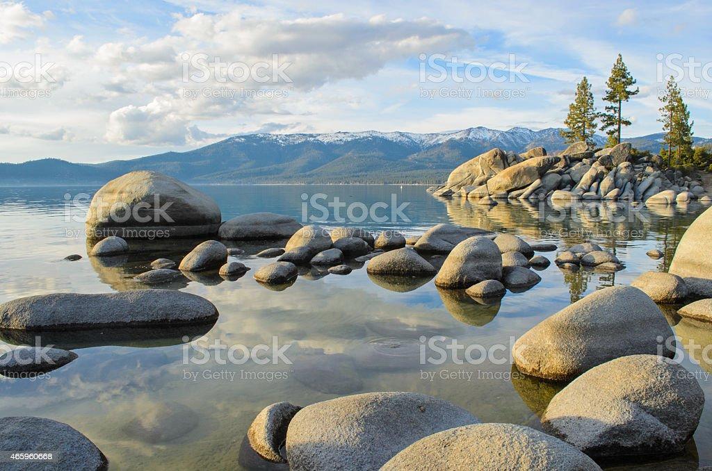 Reflections of Lake Tahoe stock photo