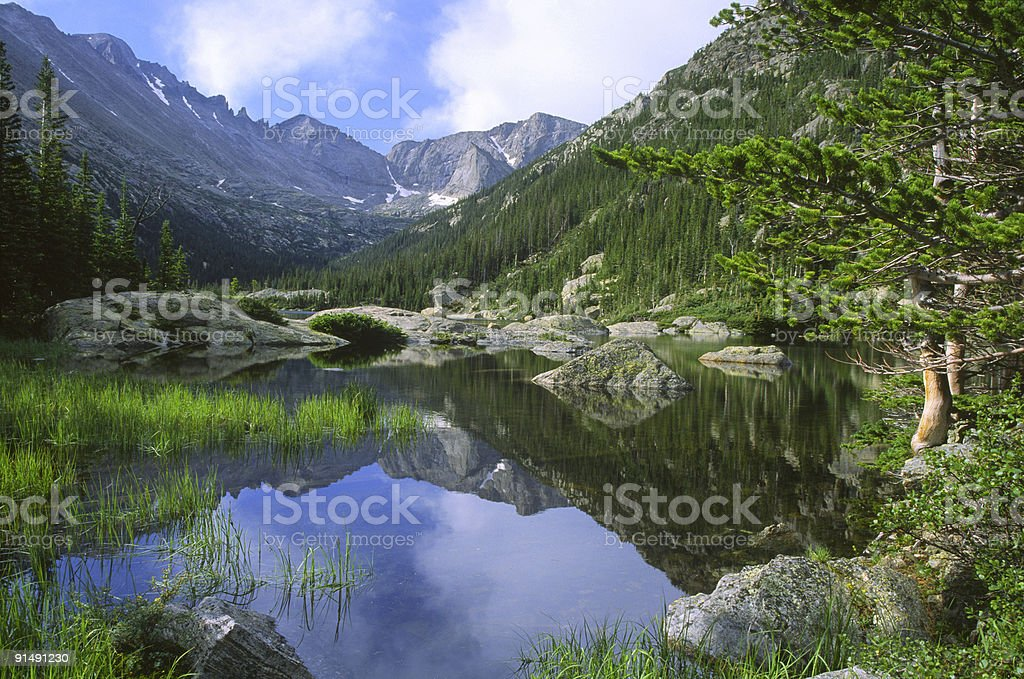 Reflections of Rocky Mountains in an alpine Lake stock photo