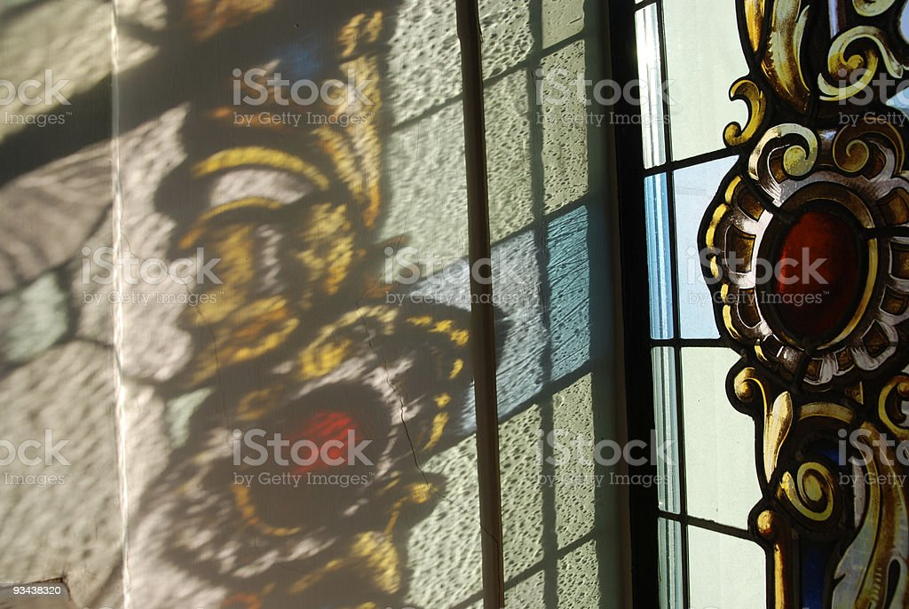 reflections of stained glass royalty-free stock photo