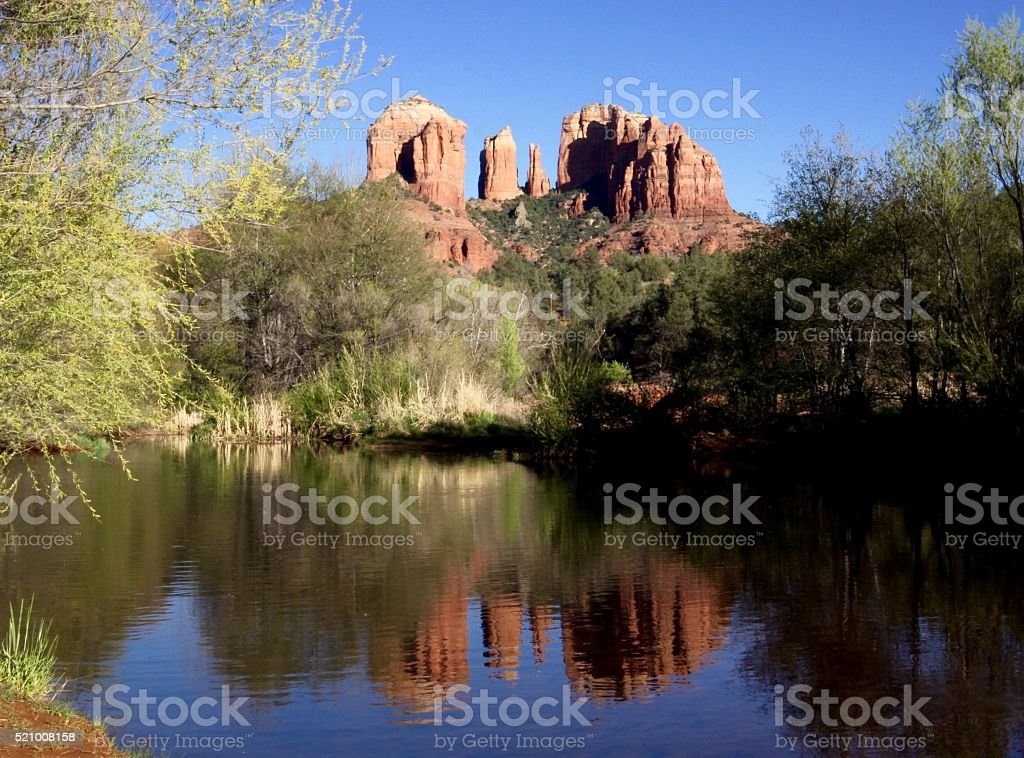 Reflections Of The Cathedral Rocks Near Sedona stock photo