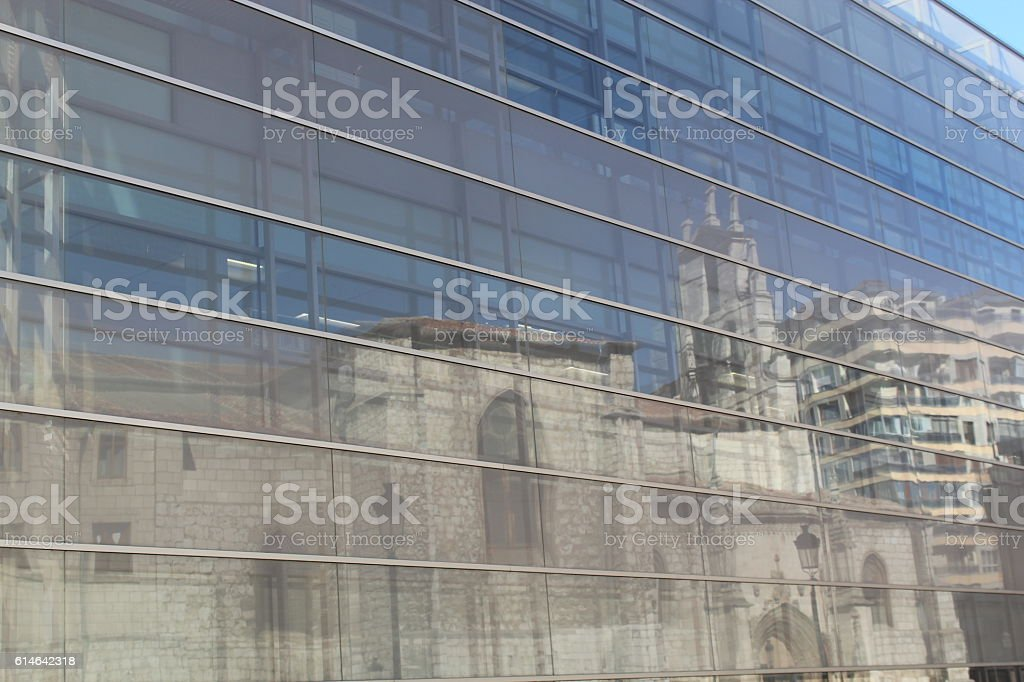Reflections of the monastery. stock photo