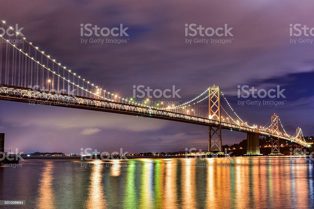 Reflections of the Oakland Bay Bridge stock photo