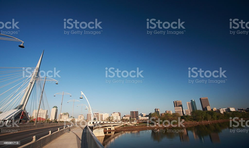 Reflections of Winnipeg from the Red River stock photo