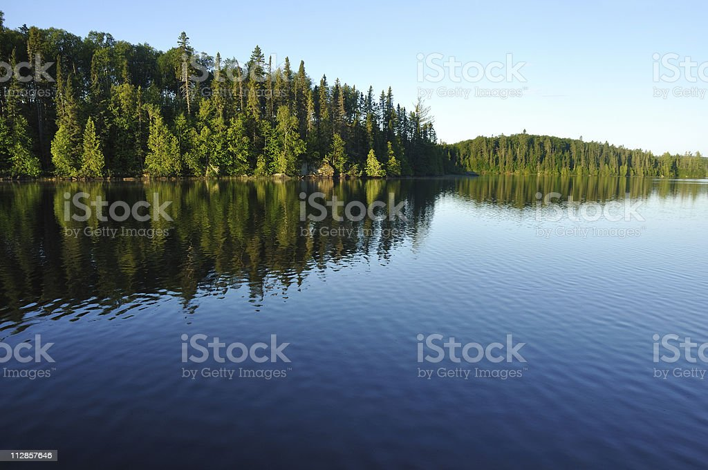 Reflections on a Wilderness Lake stock photo