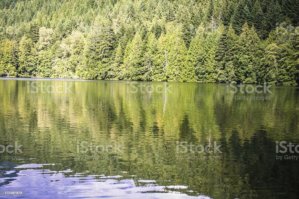 Reflections on Alice Lake stock photo