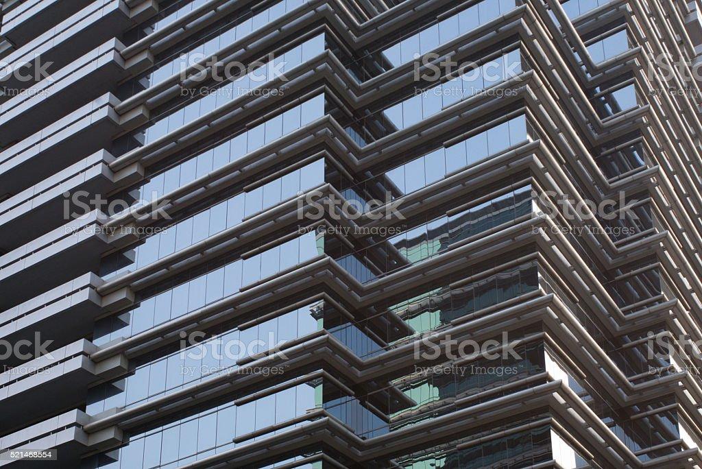 Reflections on Bangkok office buildings stock photo