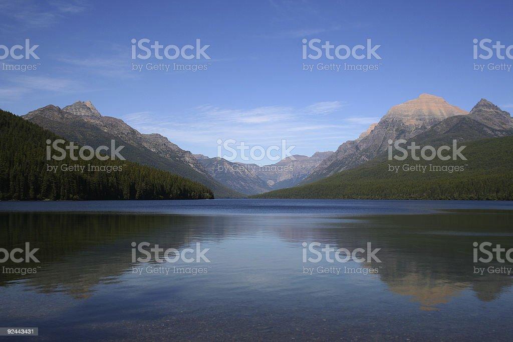 Reflections on Bowman lake royalty-free stock photo