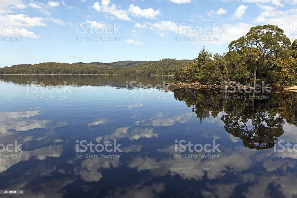 Reflections on Gordon River, Tasmania, Australia stock photo