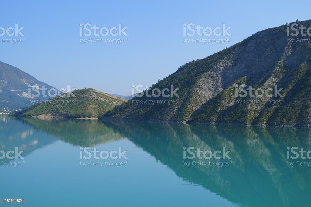 Reflections on Lac de Castillon stock photo