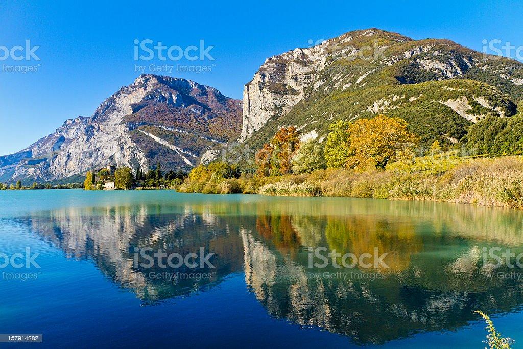 Reflections On Lake Toblino, Italy stock photo
