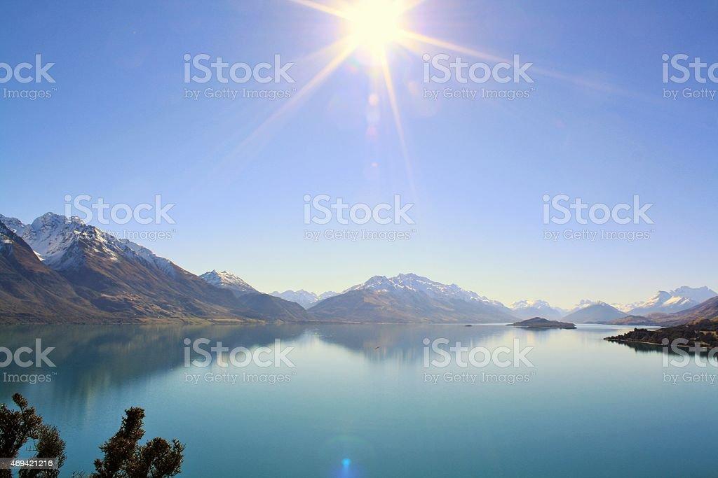 Reflections on Lake Wakatipu stock photo