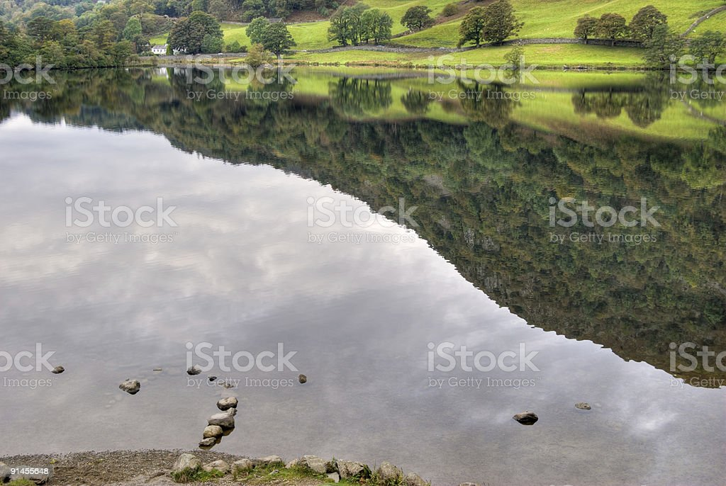 Reflections on Rydal Water royalty-free stock photo