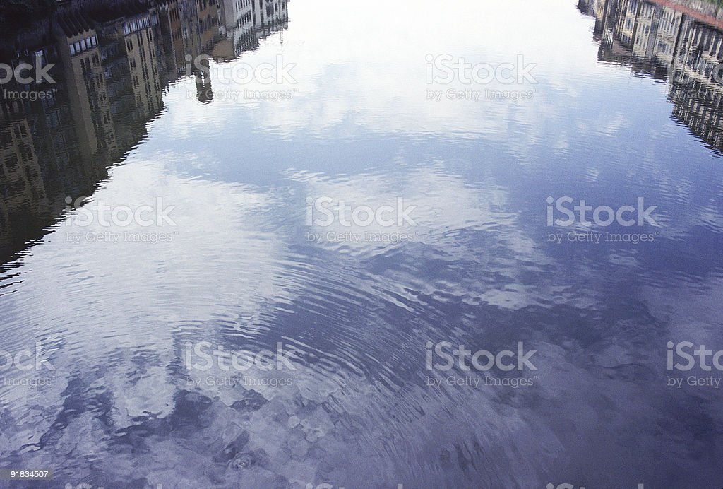 Reflections on the Arno, Florence stock photo