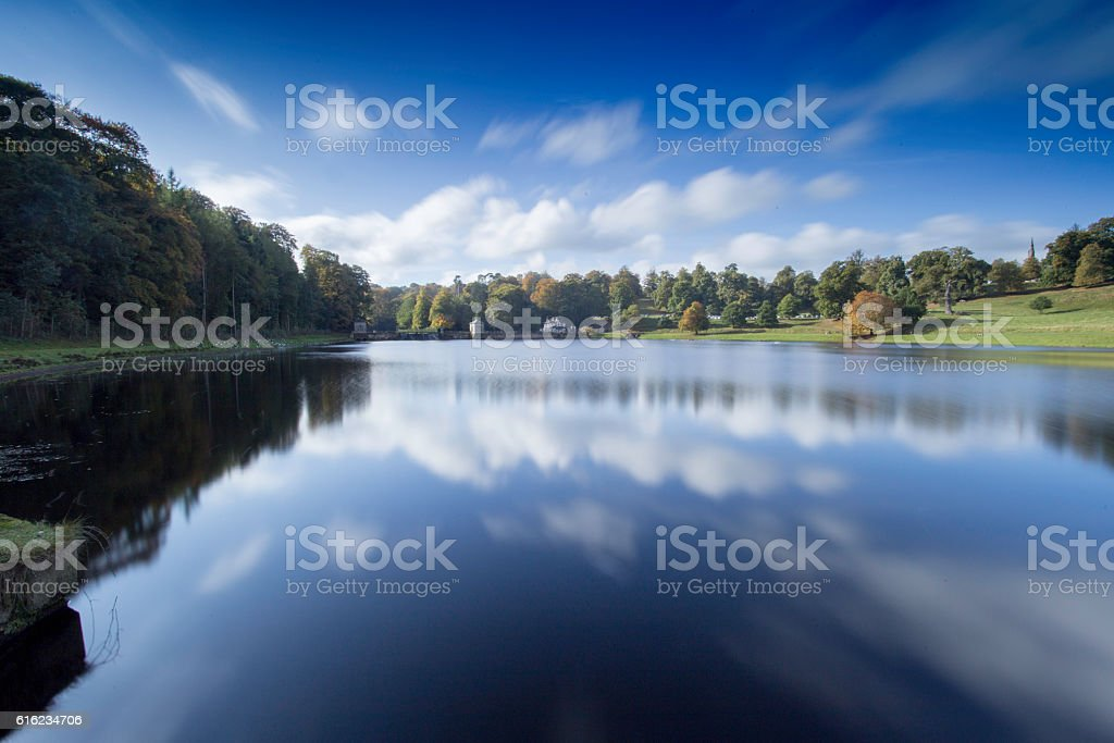 Reflections on the lake at Studley Royal, Fountains Abbey stock photo