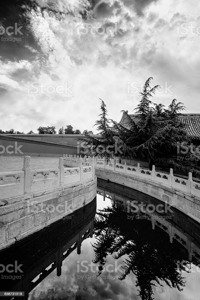 Reflections on water surface of Beijing Forbidden City canal stock photo