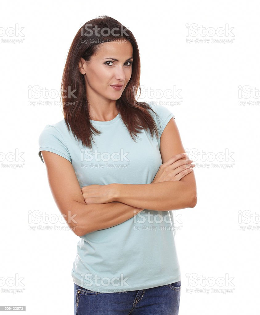 Reflective attractive lady smiling at you stock photo