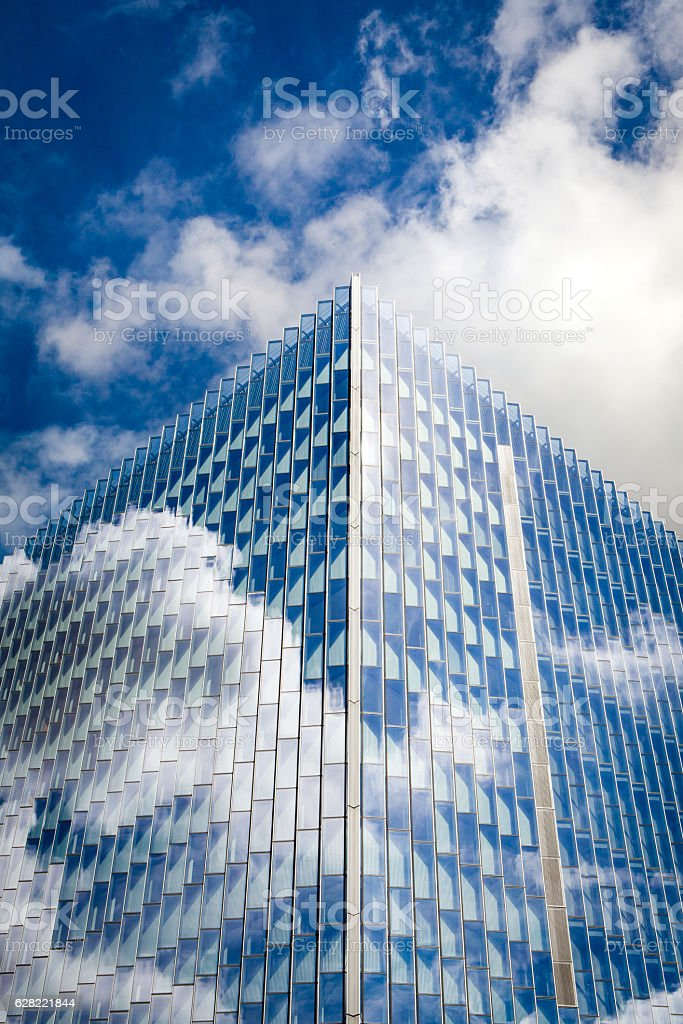 Reflective Courthouse Building Among Clouds, Downtown Los Angeles royalty-free stock photo