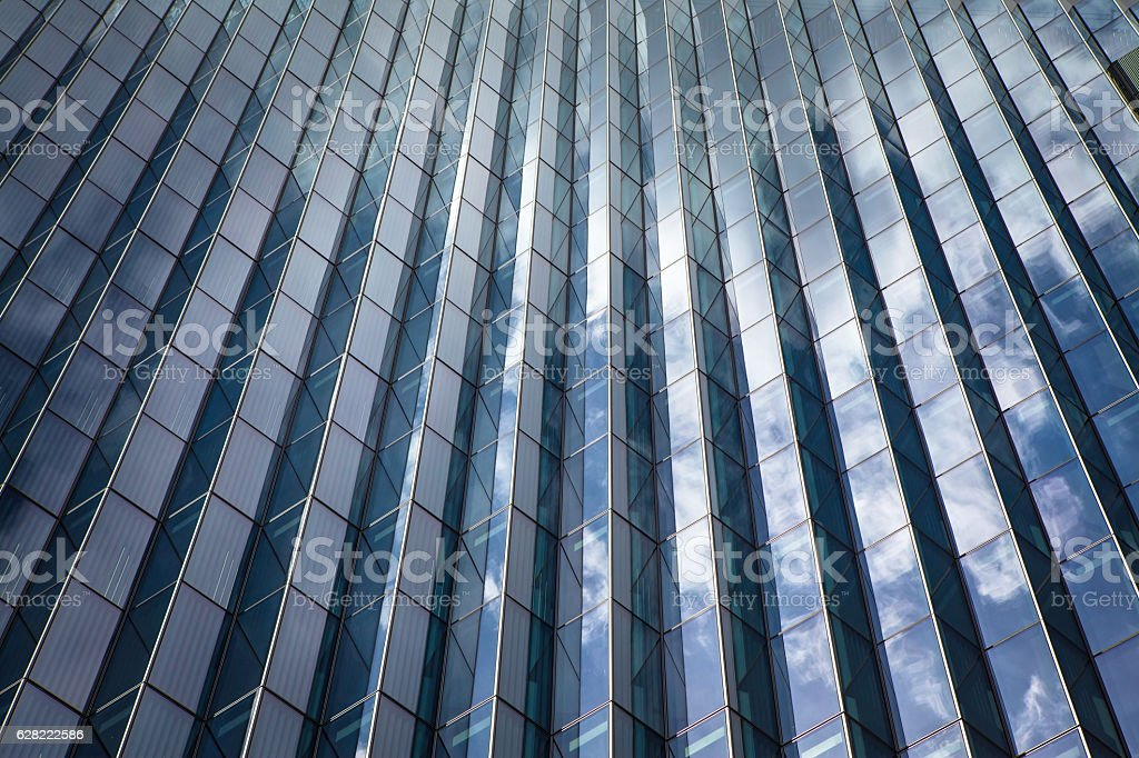 Reflective Courthouse Building Among Clouds, Downtown Los Angeles stock photo