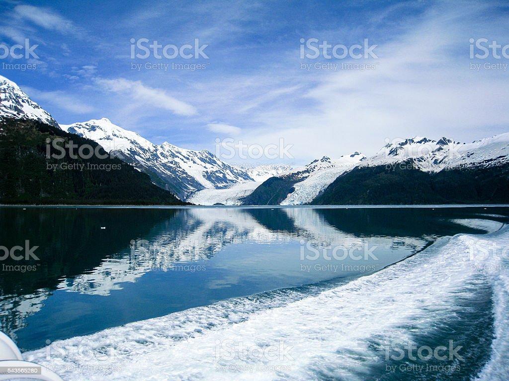 Reflective glaciers of Prince William Sound in Alaska stock photo