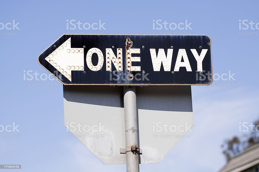 Reflective ONE WAY Sign royalty-free stock photo