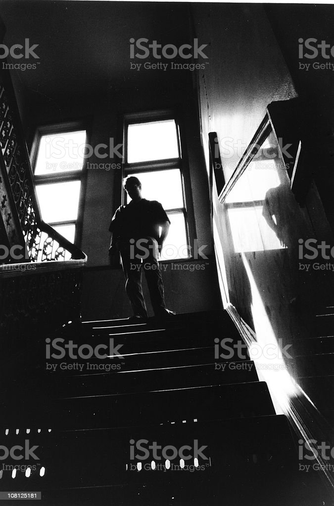 Reflective staircase stock photo