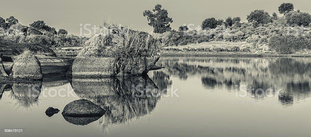 Reflejos en la laguna stock photo