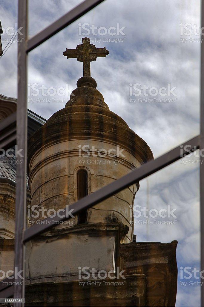 reflex of a church in   window royalty-free stock photo