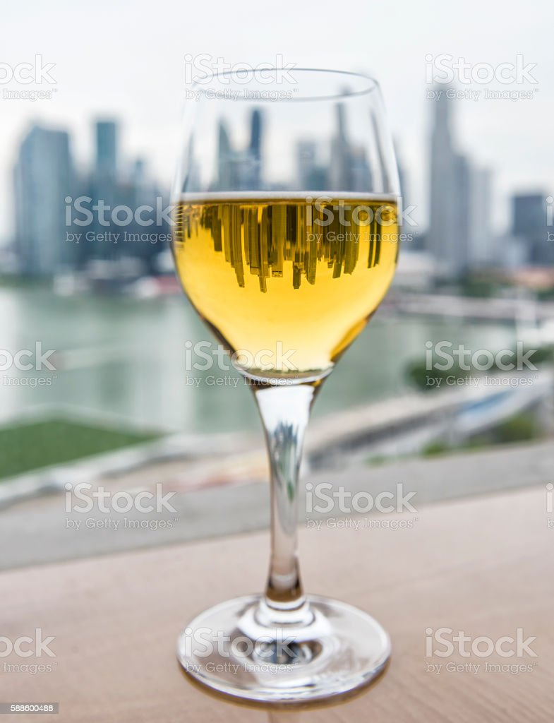 Reflextion in wine glass stock photo
