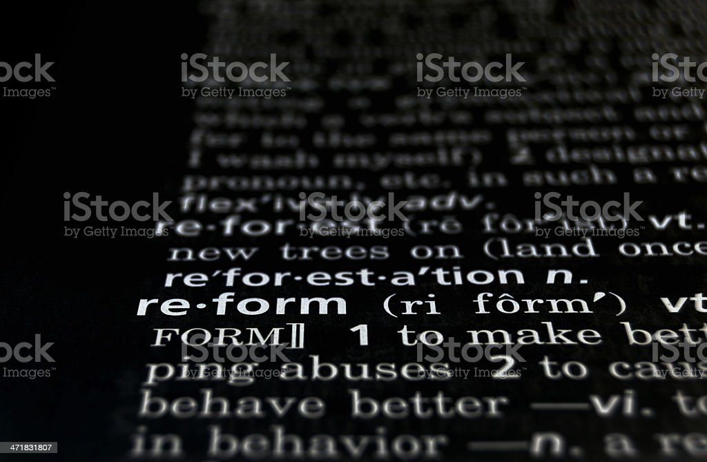 Reform Defined on Black royalty-free stock photo