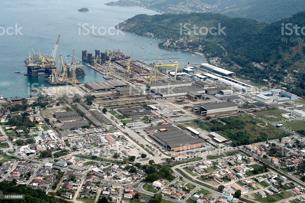 Reform shipyard and construction of offshore platforms, Brazil stock photo