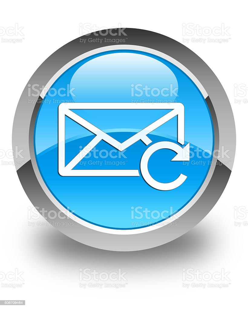 Refresh email icon glossy cyan blue round button stock photo
