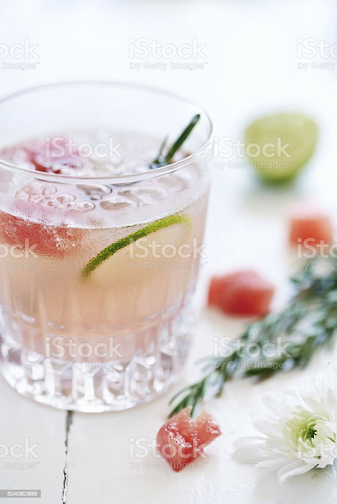Refresh yourself with this delicious watermelon cocktail stock photo