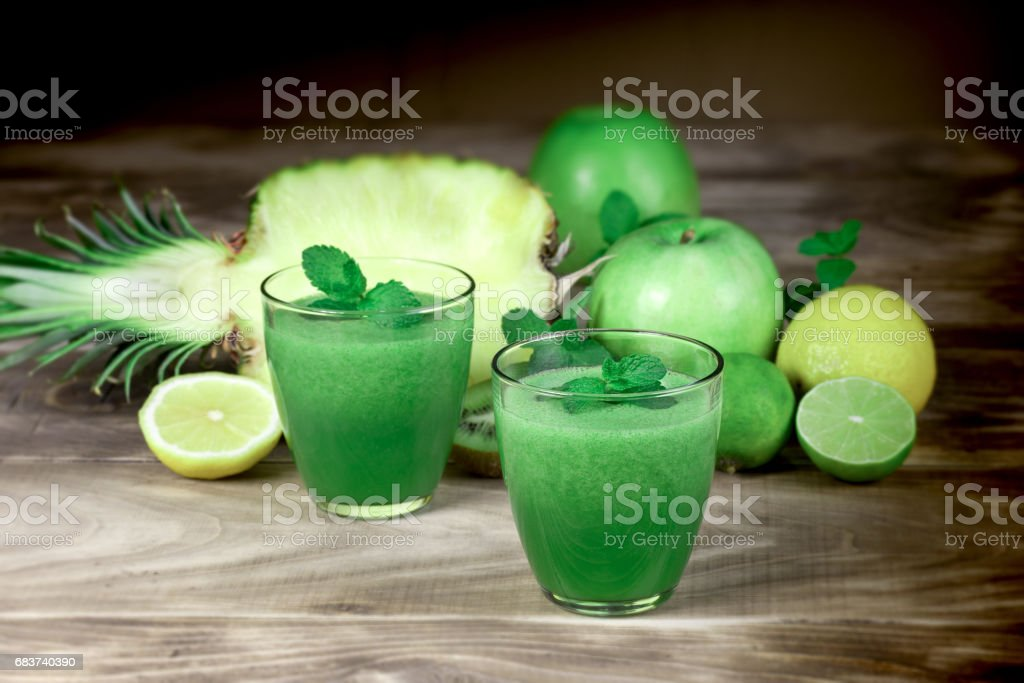 Refreshing and healthy drink - green smoothie stock photo