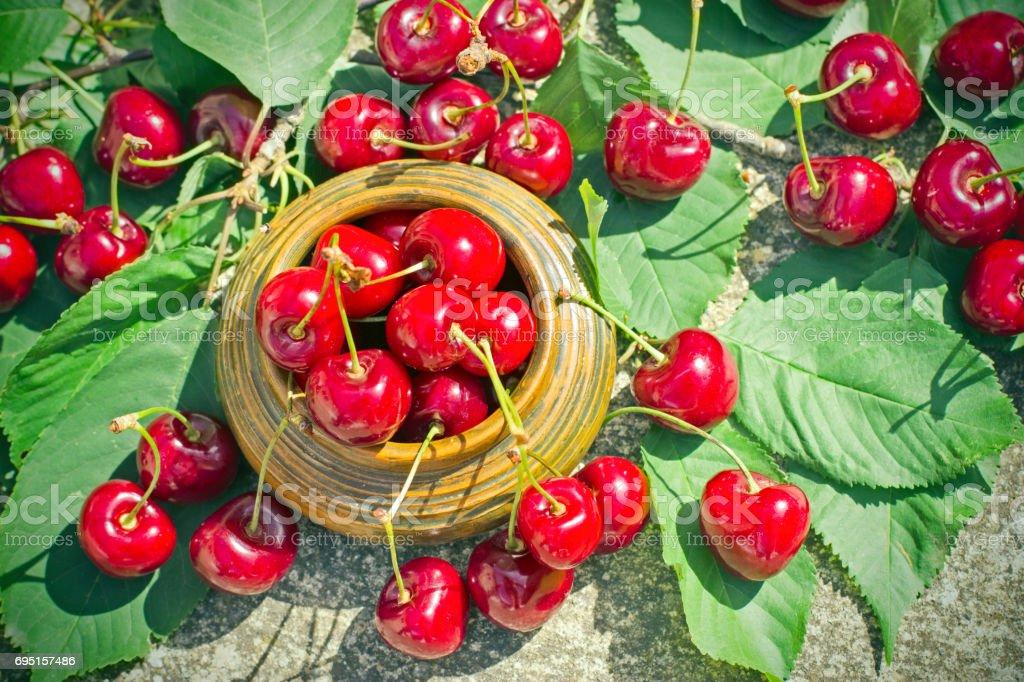 Refreshing and juicy berry fruit - organic, sweet cherry stock photo