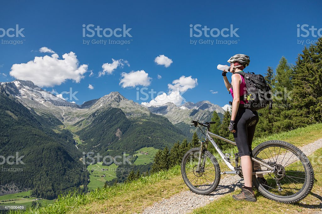 Refreshing at Aurina viewpoint, Italy royalty-free stock photo