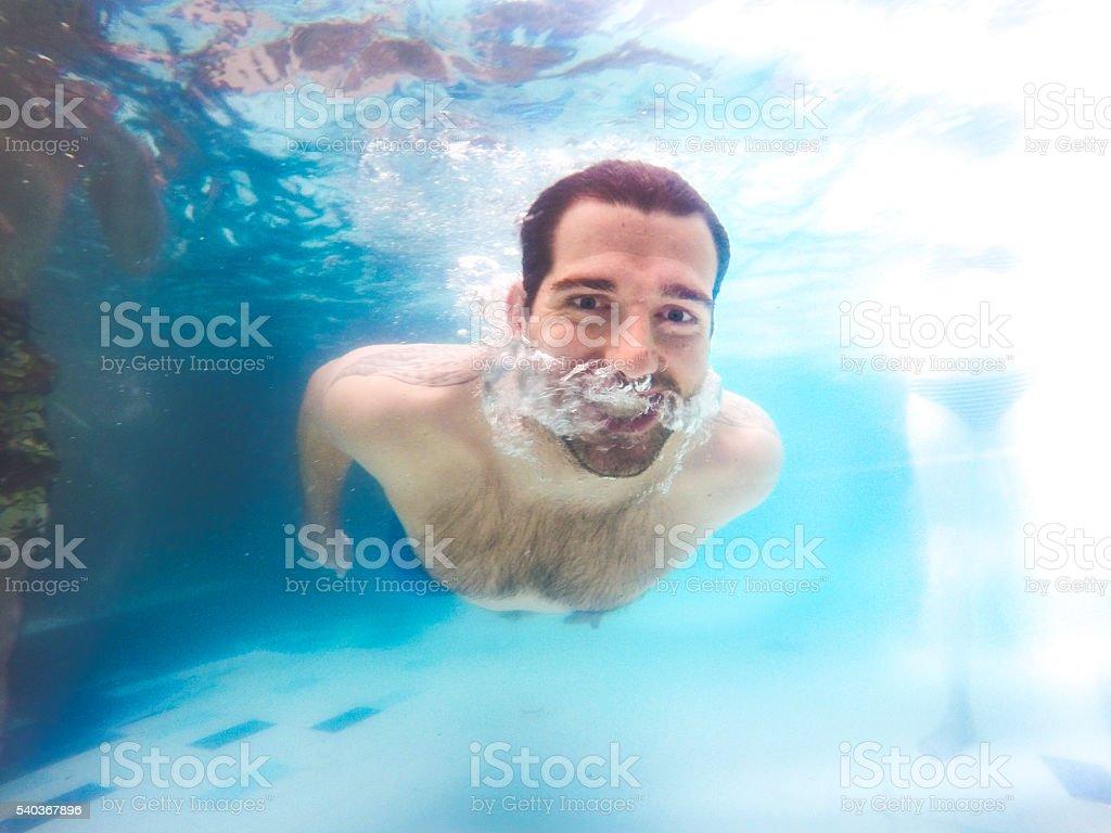 Refreshing at pool. stock photo