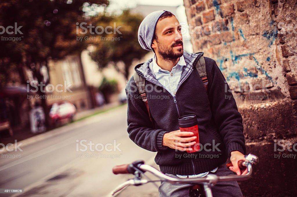 Refreshing autumn ride stock photo