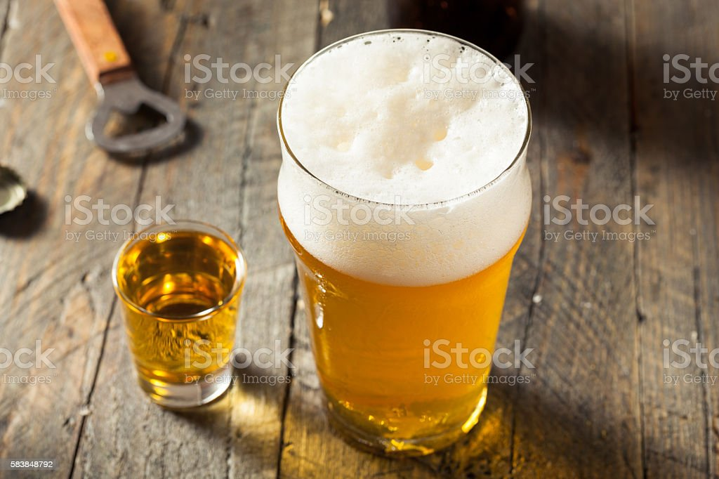 Refreshing Beer and Whiskey Shot Boilermaker stock photo
